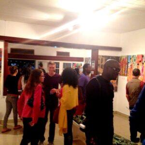revelers having a good time in the art gallery Photo:Inema art center