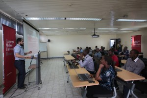 Students in a lecture room at Carnergie Mellon University in Rwanda